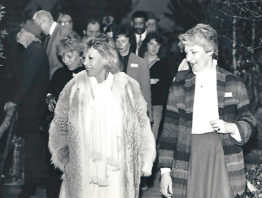 The late TV personality Dinah Shore (left) tours Dayton's Minneapolis store with then-events director Pauline Altermatt in 1984.