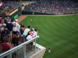 Fan inside Target Field watching the game