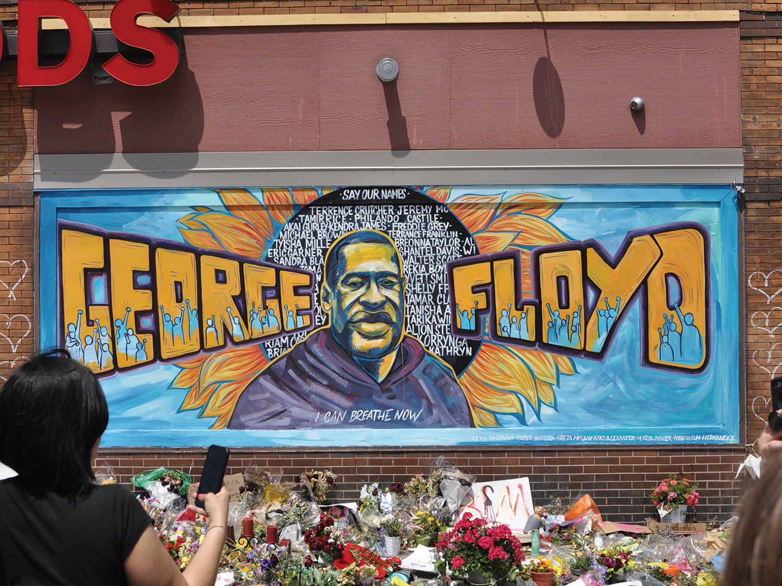 The mural of George Floyd outside of the Cup Foods building in South Minneapolis