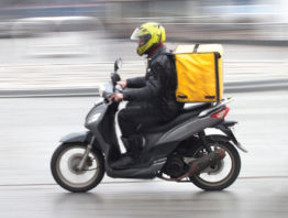 Food delivery on motorcycle