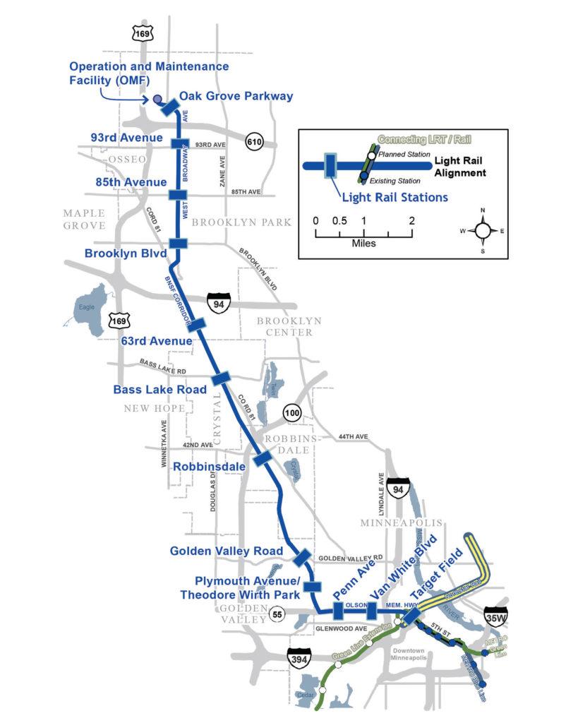 Metro Blue line map