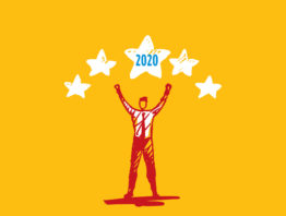 illustration of man with five stars and the year 2020