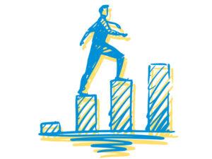 Illustration of man walking up bar graph