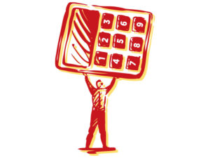 illustration of man with giant calculator