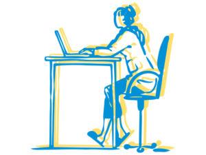 Illustration of student at desk