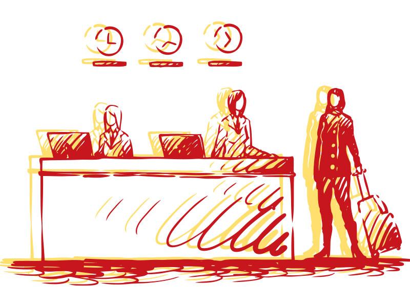 Illustration of front dest at hotel