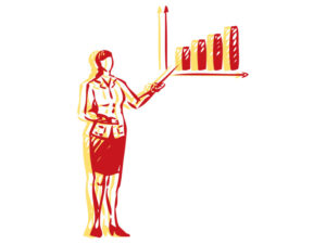 Illustration of business woman with a bar graph