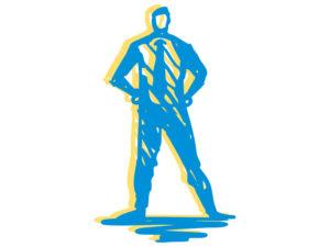 illustration of man standing akimbo