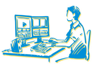 Illustration of person working with two monitors