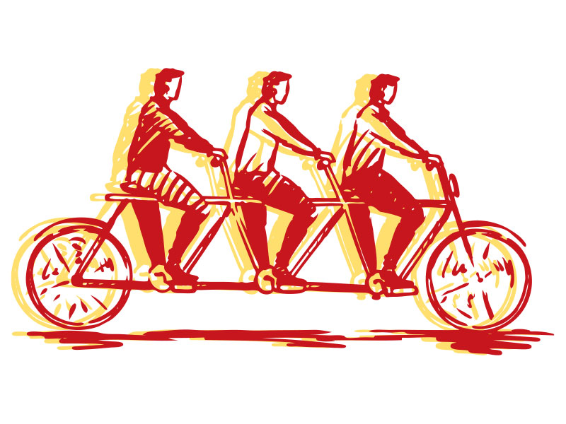 Illustration of bicycle built for three