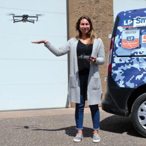 Jazmin Spreiter with a drone
