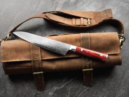 Chef's knife on a leather case