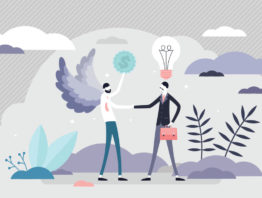Illustration of angel and business man shaking hands