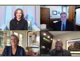 Zoom screen with Allison, Dr. Andrew Badley, Greg Cunningham, and Beth Ford Kaplan,