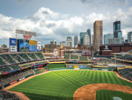 Looking at the Twins baseball field from the third base bleachers