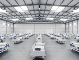 Hospital beds in a warehouse