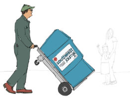 Illustration of garbage hauler removing a newspaper stand