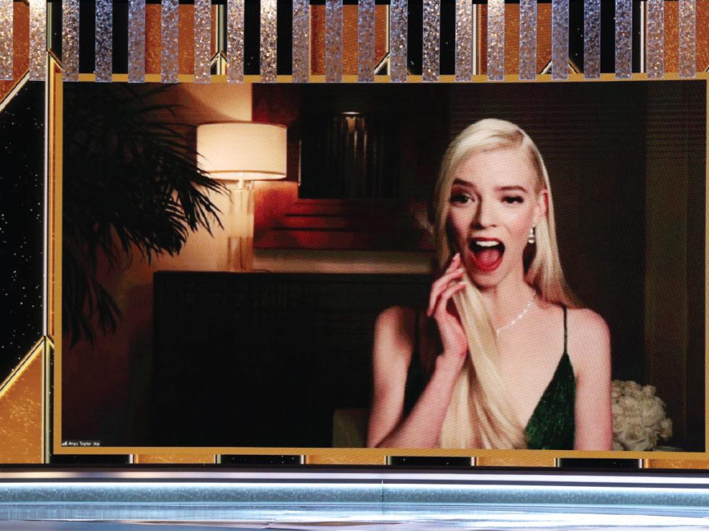 Anya Taylor-Joy reacts via video
