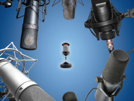 microphones on a blue background