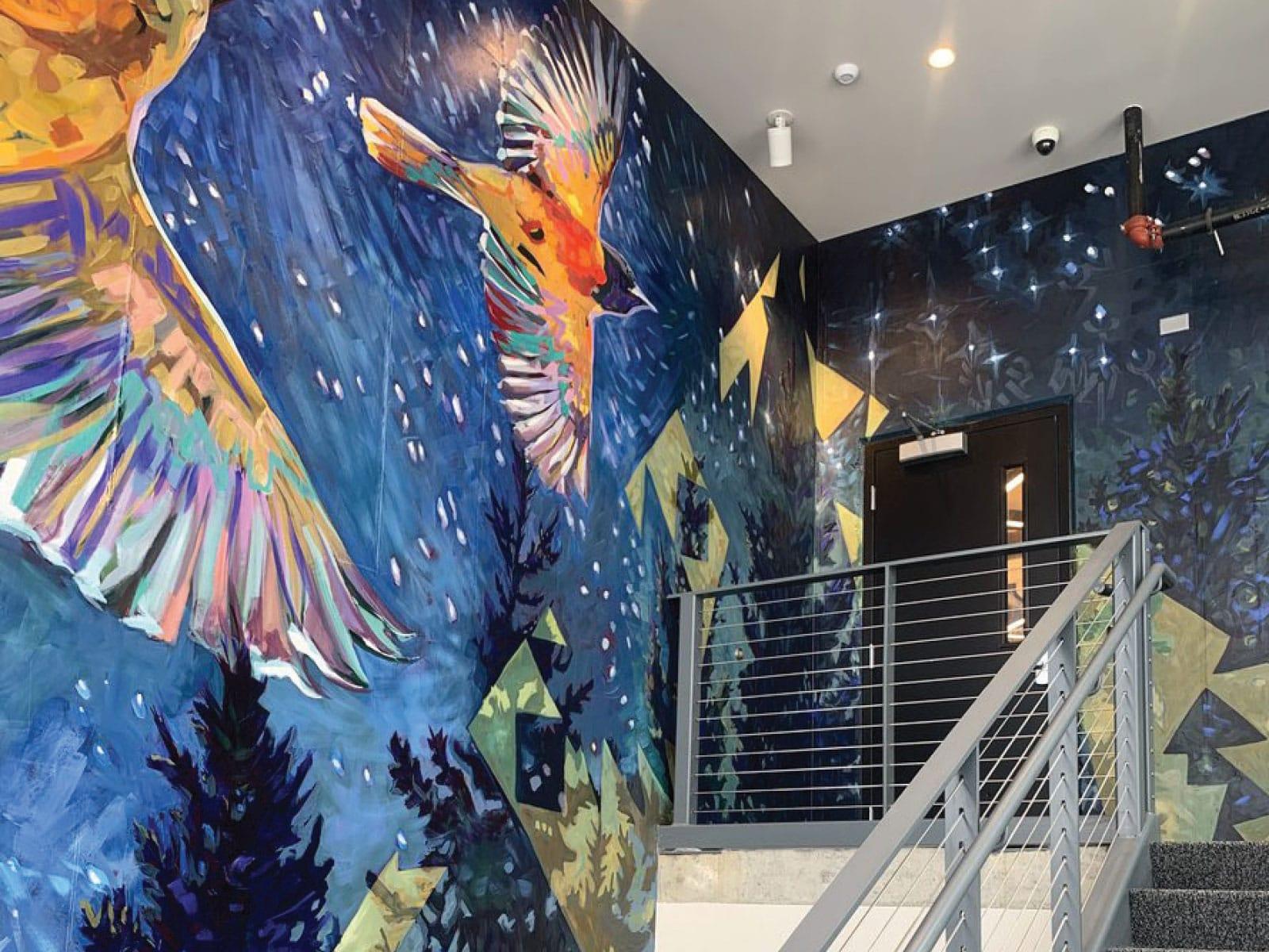 mural featuring birds