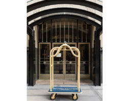 hotel cart in front of hotel