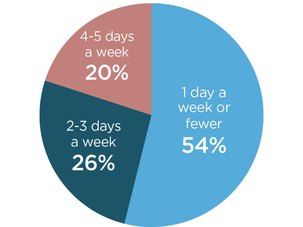 pie chart informing amount of in office time