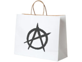 Anarchy symbol on a white shopping bag