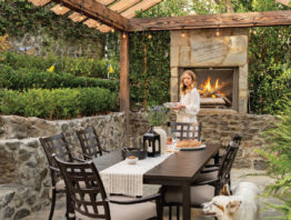patio dining room setup with fireplace
