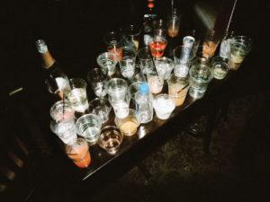 Table full of drinks