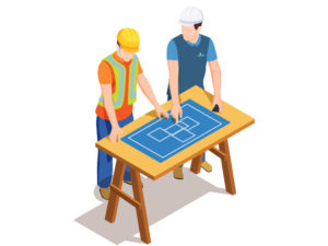 Illustration of to construction workers looking at blue prints