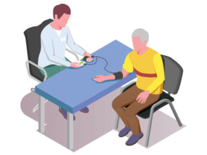 illustration of person getting his blood pressure taken