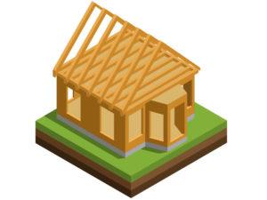 3D illustration of a framed house