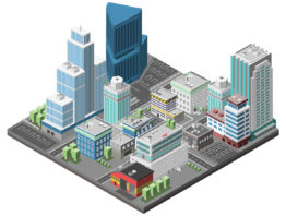 3D illustration of a downtown