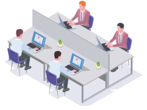four workers sharing a space
