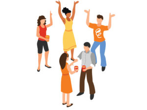 illustration of five people partying