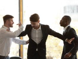 three people in a dispute