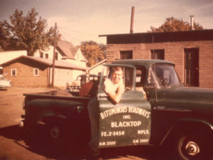 Palmer Peterson, pictured, joined Bituminous Asphalt as a part-time estimator in 1958. Photo from 1959, shortly after he joined the company.